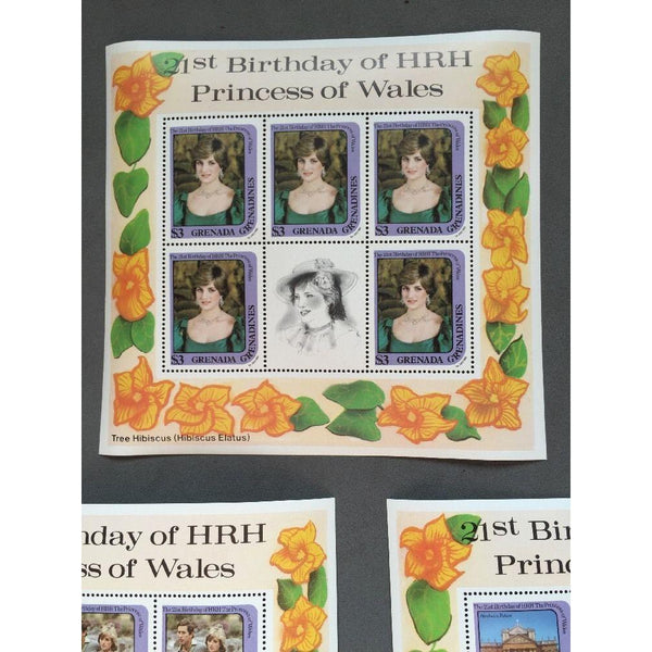 Gren Grenada 1982 SG#493,495,497, 21st Birthday Princess Of Wales MNH Sheetlets - uk-cover-lover