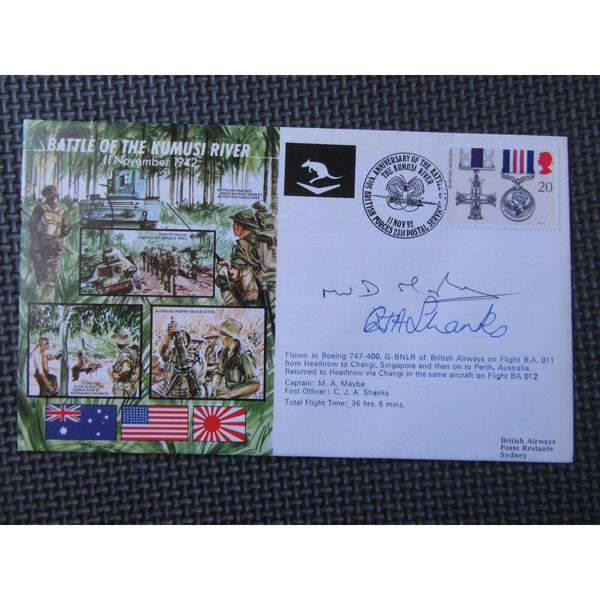 Battle Of The Kumusi River Flown & M. A. Maybe & C. Shanks Signed Cover 11/11/92 - uk-cover-lover