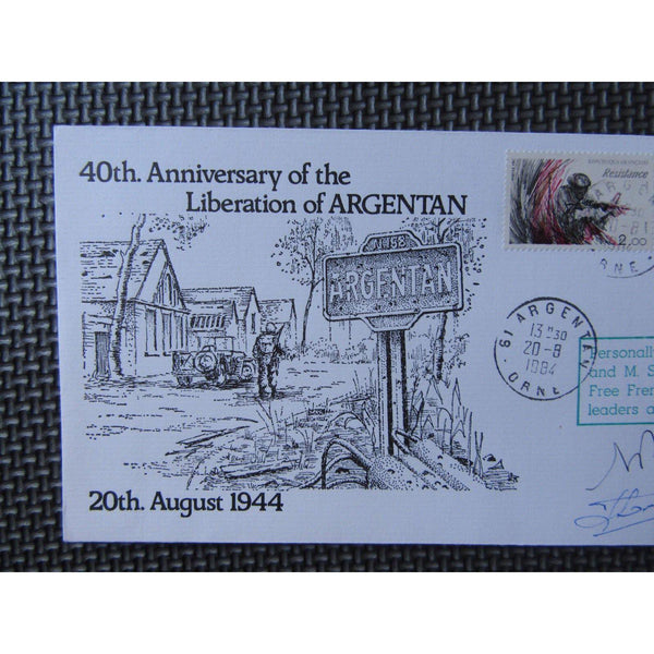 WW2 40th Anniv. Liberation Argentan Signed 'Soubabere & Bizet' 1984 - uk-cover-lover