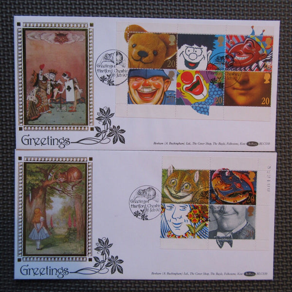 G.B Benham FDC 'Greetings Stamps'  PM 'Hartford Cheshire' BLCS50 06/02/90 - uk-cover-lover