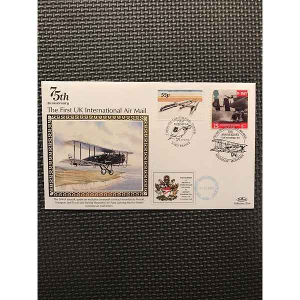 G.B Benham Cover 75th Anniversary, The First Uk International Air Mail 14/11/94 - uk-cover-lover