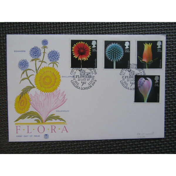 "G.B First Day Cover ""Flowers"" PM ""Chelsea Flower Shows, SW3"" 20/01/87 - uk-cover-lover"