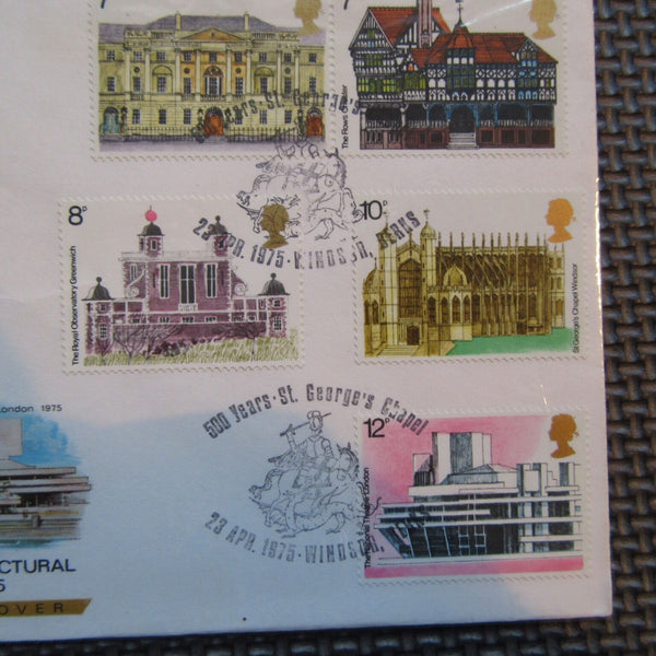 G.B FDC 'Architecture' PM '500 Years St Georges Chapel, Windsor' 22/04/75 - uk-cover-lover