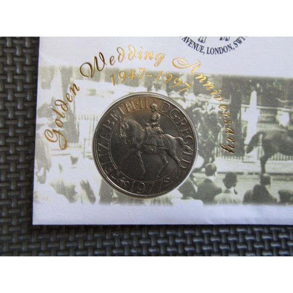 "Great Britain ""Golden Wedding Anniversary"" Commemorative Coin Cover 08/07/97 - uk-cover-lover"