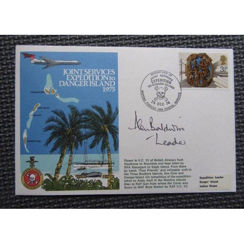 'Joint Services Expedition To Danger Island 1975' Signed & Flown Cover 29/12/74 - uk-cover-lover