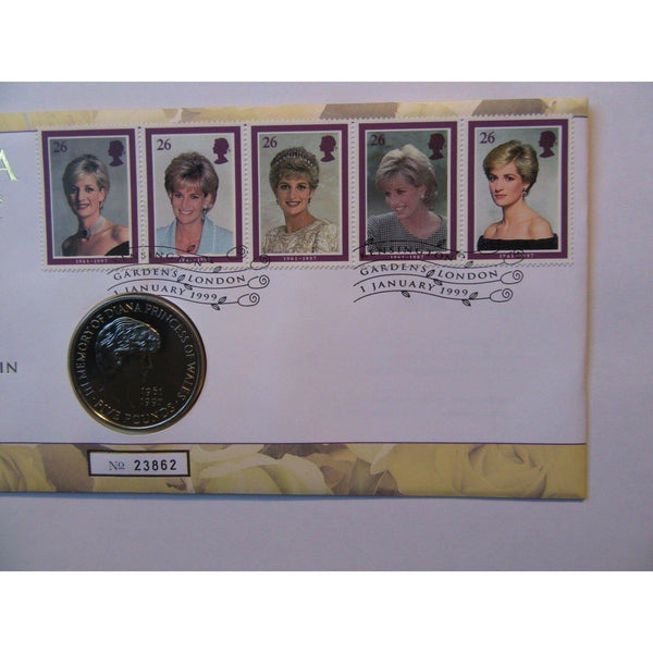 G.B £5 Memorial Coin Cover - Diana Princess Of Wales 1961 - 1997 - 01/01/99 - uk-cover-lover