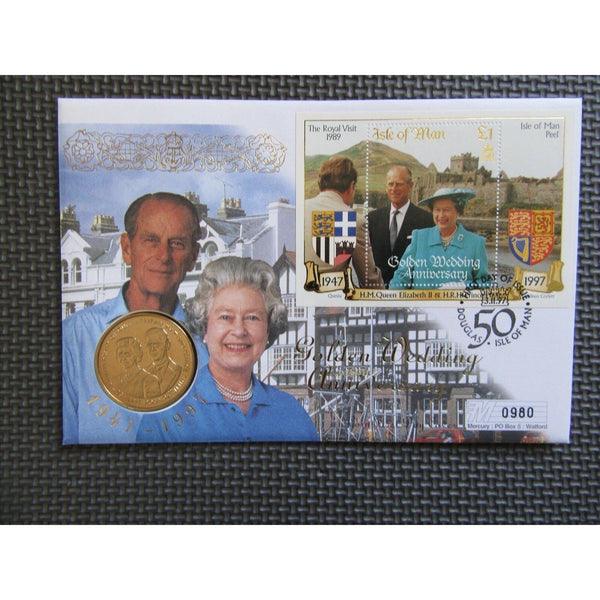 "Isle Of Man ""Golden Wedding Anniversary"" £5 Pound Coin Cover 03/11/97 - uk-cover-lover"