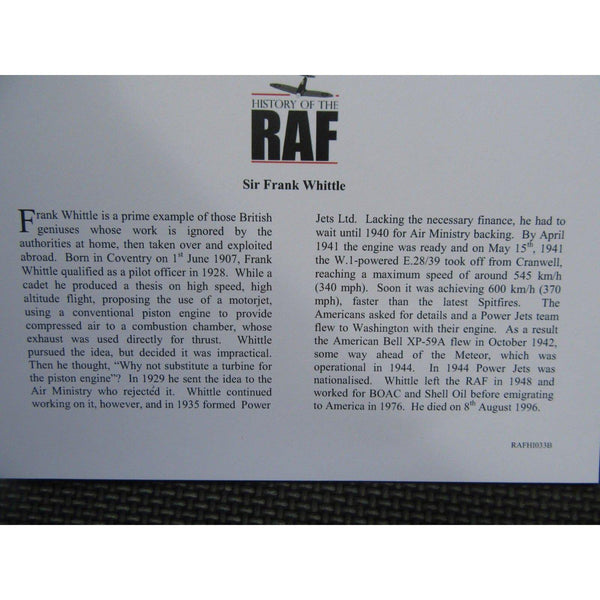 History Of The RAF - Sir Frank Whittle - Jersey £5 Coin Cover - 19/05/08 - uk-cover-lover