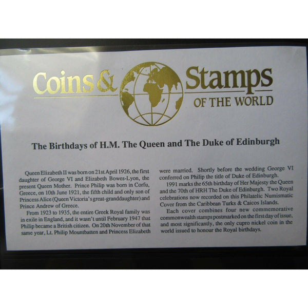 "1991 ""Birthdays Of The Queen & Duke Of Edinburgh"" Cupro Nickel Coin Cover - uk-cover-lover"
