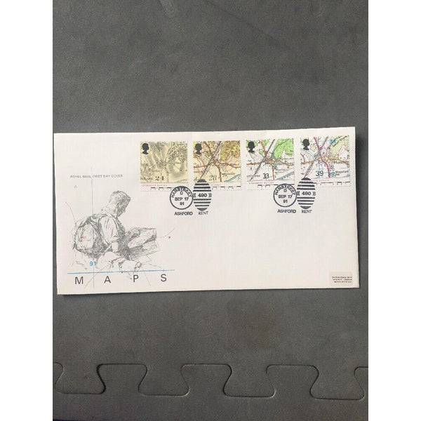 "G.B FDC Maps PM ""Hamstreet D490"" 17/09/91 - uk-cover-lover"