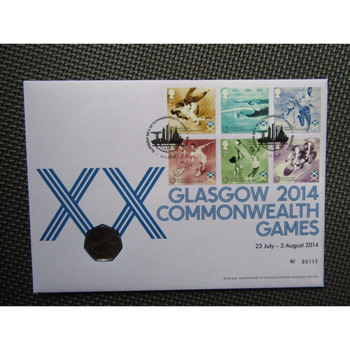 "Royal Mail / Mint PNC 50p Coin Cover ""Glasgow 2014 Commonwealth Games"" 17/07/14 - uk-cover-lover"