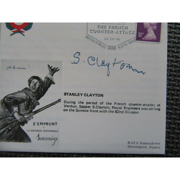"""Verdun - The French Counter Attack"" - 'Stanley Clayton' Signed Cover 22/10/96 - uk-cover-lover"