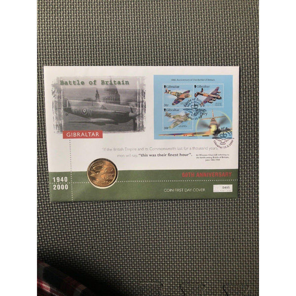 Gibraltar £5 Coin Cover - Celebrating The Battle Of Britain Victory - 15/09/00 - uk-cover-lover