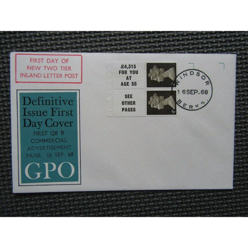 Definitive Issue First Day Cover First Commercial Advertisement Pane 16/09/68 - uk-cover-lover