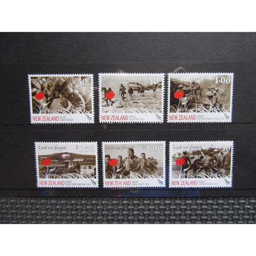 New Zealand 2009 Anzac 'Lest We Forget' Full Set Of Six MNH - uk-cover-lover