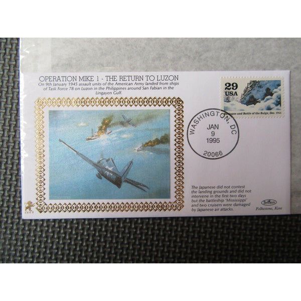 "Benham 22Ct Gold WWII Cover ""Operation Mike 1 - The Return To Luzon"" 09/01/95 - uk-cover-lover"