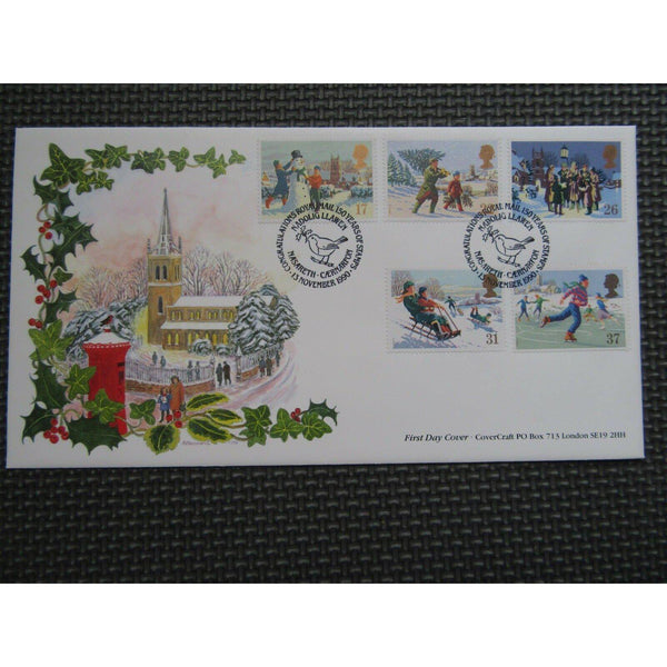 "G.B CoverCraft FDC ""Christmas"" PM ""150 Years Of Stamps, Nasareth"" 13/11/90 - uk-cover-lover"