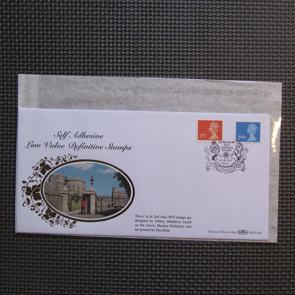 G.B Benham FDC 'Self Adhesive Low Value Definitive Stamps' BLCSsp4 18/03/97 - uk-cover-lover