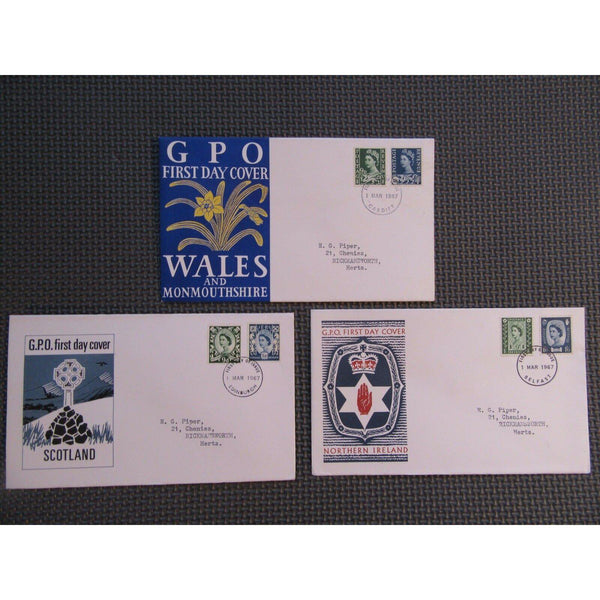 1967 New Regional Definitives Set Of 3 (Wales, Scotland, N. Ireland) 01/03/67 - uk-cover-lover