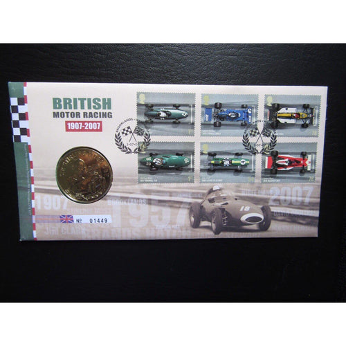 "G.B 2007 Coin Cover ""British Motor Racing 1907 - 2007"" Ltd Edition - uk-cover-lover"
