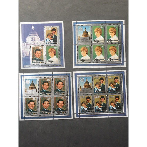 Niue 1982 'Birth of Prince William' Set of Four Sheetlets Unmounted Mint (MNH) - uk-cover-lover