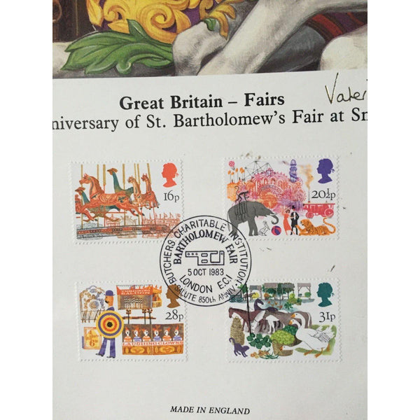 G.B FDC British Fairs Lithograph - London EC1 05/10/83 Ltd Edition - uk-cover-lover