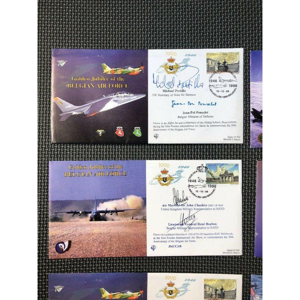 'Golden Jubilee Of The Belgian Air Force' 6 Signed & Flown Cover (All Pictured) - uk-cover-lover