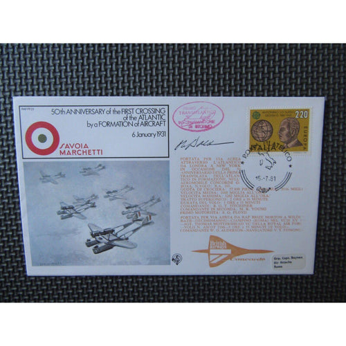 RAF FF 23 15/07/81 Flown And Signed Cover PM Rome - uk-cover-lover