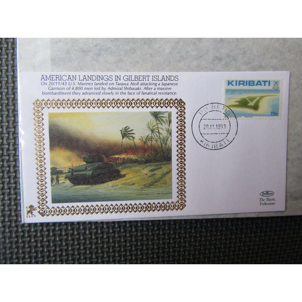 "Benham 22ct Gold Silk WWII Cover ""American Landings In Gilbert Islands"" 20/11/93 - uk-cover-lover"