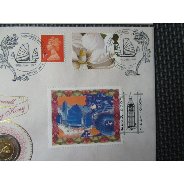 1997 Benham Farewell To Hong Kong $10 Coin Cover - Dual Postmarks Ltd Edition - uk-cover-lover
