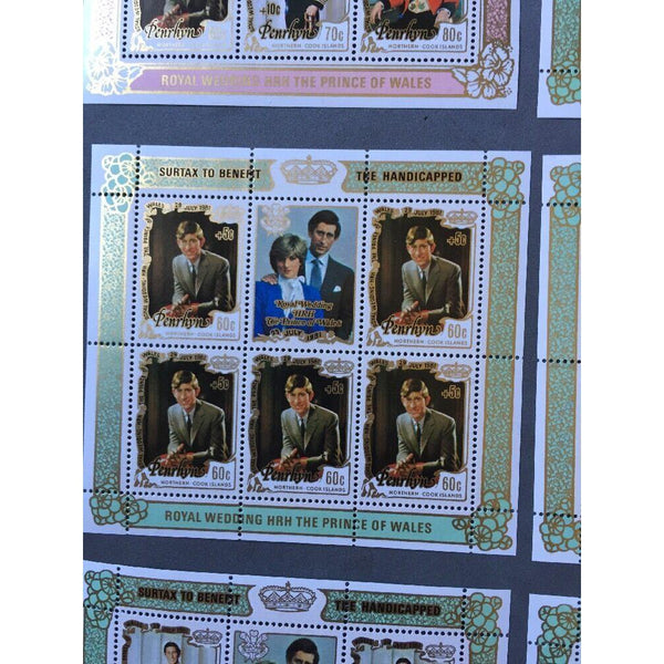Penrhyn - Royal Wedding 1991 - 5 Souvenir Sheets & Miniature Sheet - Surtax MNH - uk-cover-lover