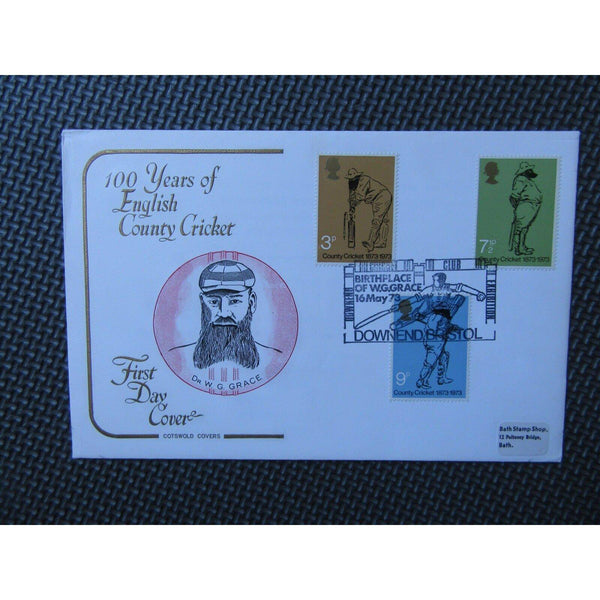 G.B Cotswold FDC - County Cricket Society - PM 'Downend Cricket Club'  16/05/73 - uk-cover-lover