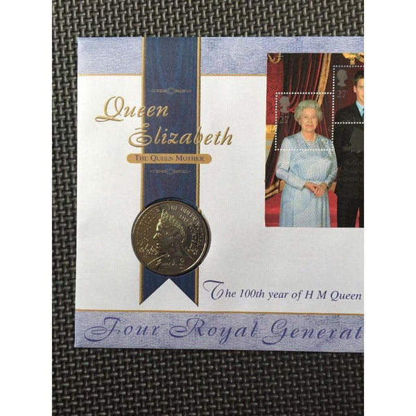 G.B 2000 The Queen Mothers 100th Year £5 Coin First Day Coin Cover 04/08/00 - uk-cover-lover