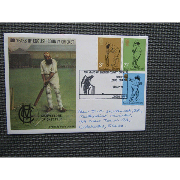 "1973 TCCB FDC ""Cricket Centenary"" PM 'English County Cricket Exhibition, Lords' - uk-cover-lover"