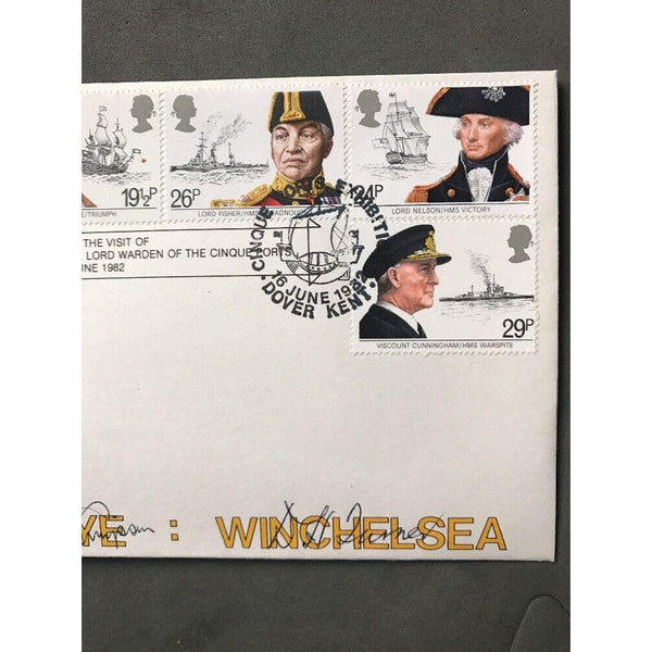 Cinque Ports Confederation Official First Day Cover Multi Signed 16/06/82 - uk-cover-lover