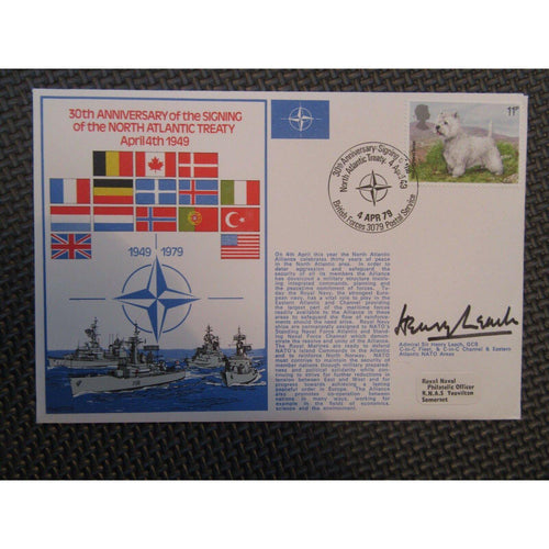 '30th Anniv. Of The North Atlantic Treaty 'Henry Leach' Signed Cover 04/04/79 - uk-cover-lover