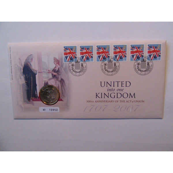 "2007 £2 Coin Cover ""United Into One Kingdom - 300th Anniv. The Act of Union"" - uk-cover-lover"