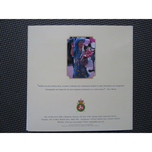2000 Isle of Man - Queen Mother's 100th Birthday Souvenir Stamp Folder (German) - uk-cover-lover