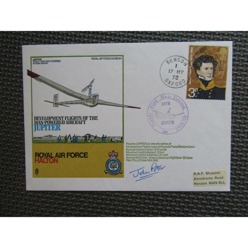 1972 'Jupiter' Cover Signed 'John Potter' PM 'Worlds First Man-Powered AirMail' - uk-cover-lover