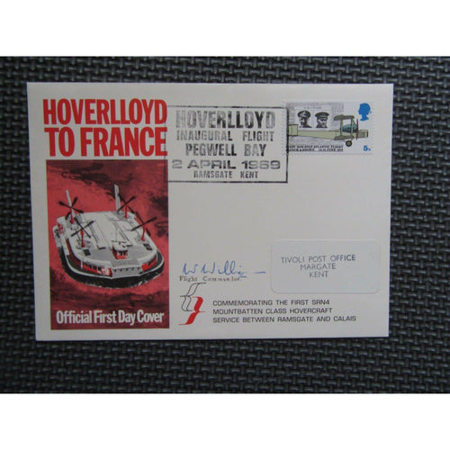'Hoverlloyd To France' 02/04/69 Signed Cover - Inaugural Flight Pegwell Bay - uk-cover-lover