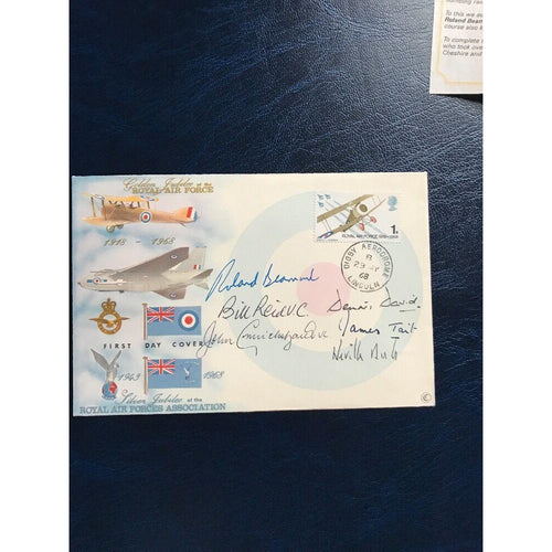 1968 50th Anniv. The RAF Multi Signed Cover Beaumont, Cruickshank, Tait, Reid - uk-cover-lover