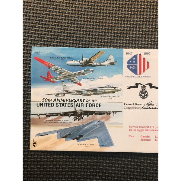 50th Anniversary USAF Cover Signed By 'Bernard Fisher' 18/09/97 - uk-cover-lover