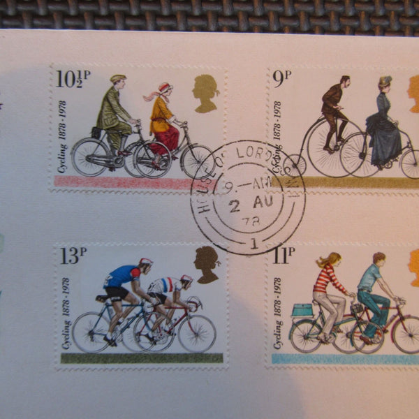 G.B FDC 'Cycling Centenary' PM 'House Of Lords' 02/08/78 - uk-cover-lover