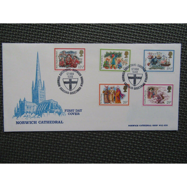 "Official Cover Christmas 1982"" PM ""Season Greetings, Norwich Cathedral"" 17/11/82 - uk-cover-lover"