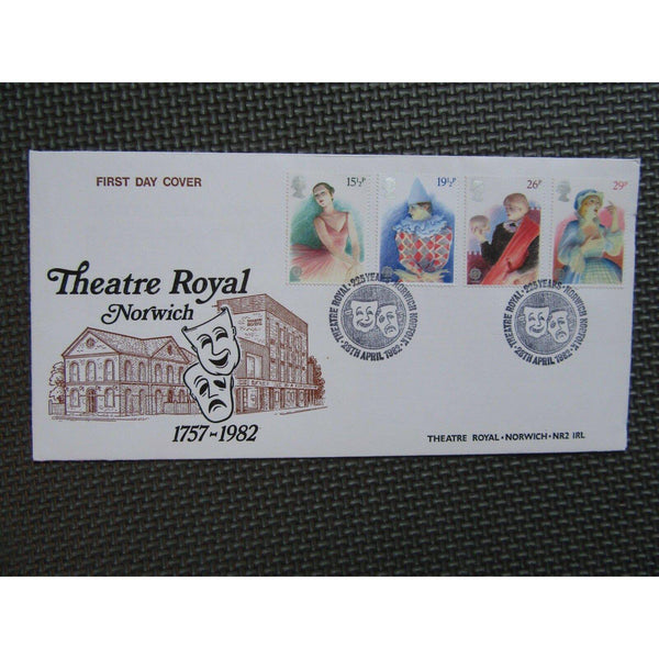 "Official First Day Cover ""British Theatre"" PM ""Theatre Royal, Norwich"" 28/04/82 - uk-cover-lover"
