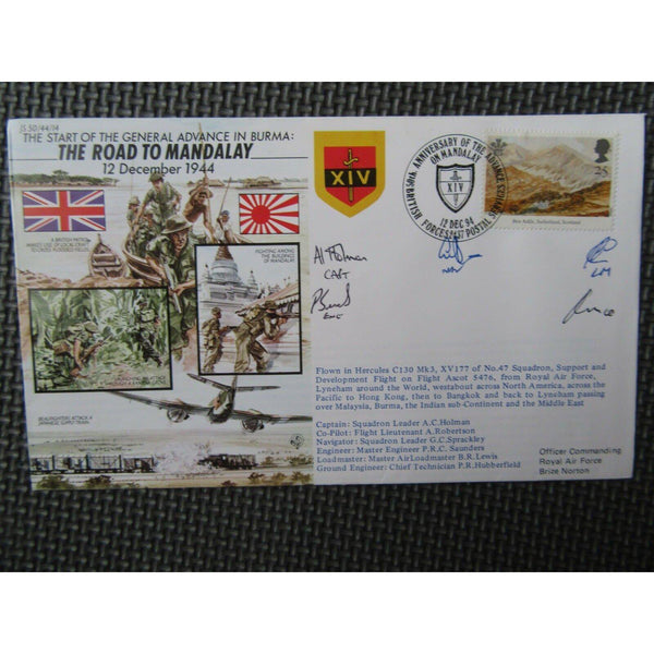JS 50/44/14 'The Road To Mandalay' Multiple Signed & Flown Cover 12/12/94 - uk-cover-lover