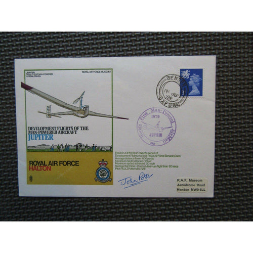 1972 'Jupiter' Cover Signed 'John Potter' PM 'World First Man Powered AirMail' - uk-cover-lover