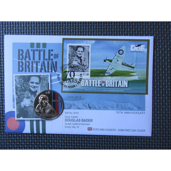 2010 Battle Of Britain - Aces And Leaders - Douglas Bader Jersey £5 Coin Cover - uk-cover-lover