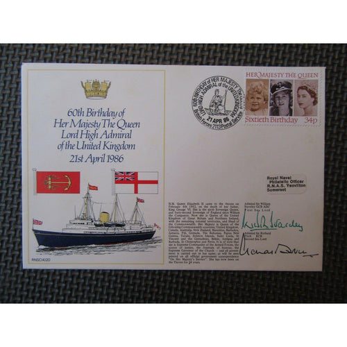 "RNSC (4) 20 60th Birthday The Queen Signed ""W Staveley & R Fitch"" 21/04/86 - uk-cover-lover"