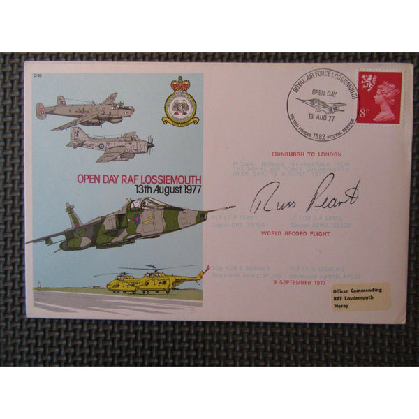 "C49 G.B Open Day RAF Lossiemouth Flown Cover Signed ""Russ Pearl"" 13/08/77 - uk-cover-lover"